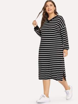 Shein Plus Drop Shoulder Split Side Striped Dress