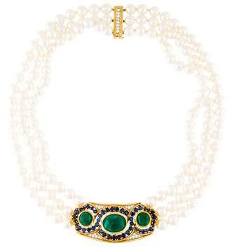David Webb Emerald, Sapphire, Pearl & Diamond Choker Necklace