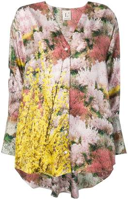 L'Autre Chose printed twill high low blouse