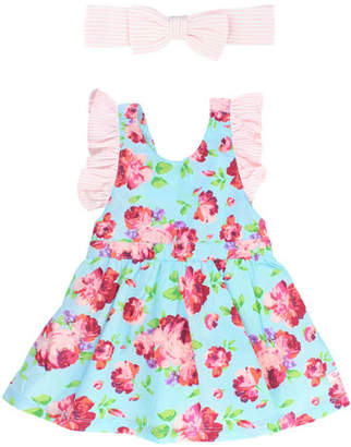 RuffleButts Life Is Rosy Pinafore Dress w/ Seersucker Bow Headband, Size 0M-3T