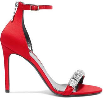 Calvin Klein Camelle Crystal-embellished Satin Sandals - Red