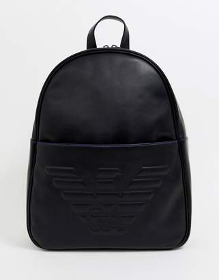 Emporio Armani embossed large eagle backpack in black