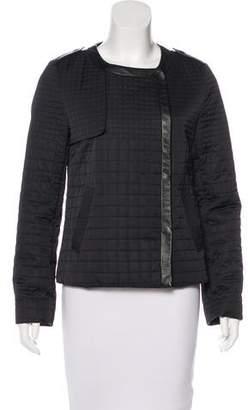 Jonathan Simkhai Leather-Trimmed Satin Jacket
