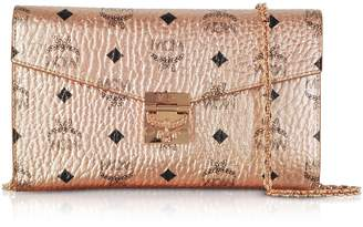 MCM Champagne Gold Patricia Visetos Large Wallet Crossbody Bag