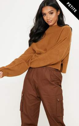 d77c03bd43f3d PrettyLittleThing Petite Camel Cropped Jumper