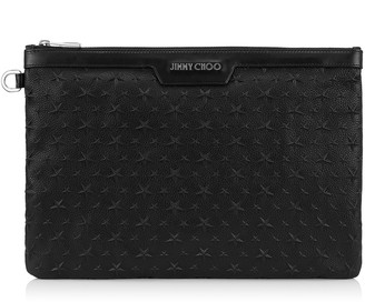 Jimmy Choo DEREK Black Embossed Stars on Grainy Leather Document Holder