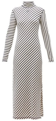Loewe Diagonal Striped High Neck Jersey Midi Dress - Womens - Navy White