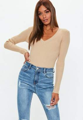 Missguided Camel ultimate plunge Knit bodysuit