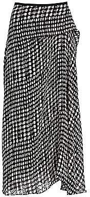 Theory Women's Stretch Silk Printed Side Drape Midi Skirt