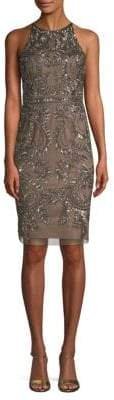 Adrianna Papell Paisley Beaded Sheath Dress