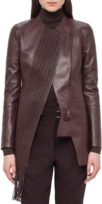 Akris Woven-Panel Leather Long Jacket, Aubergine $1,247 thestylecure.com