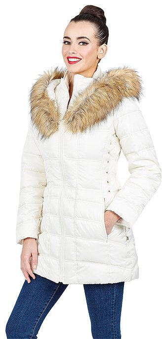 Betsey JohnsonFaux Fur Trimmed Short Puffer Coat With Corset