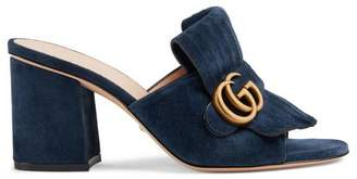 Gucci Suede mid-heel slide with Double G
