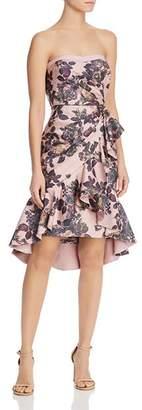 Aidan Mattox Strapless Floral Dress