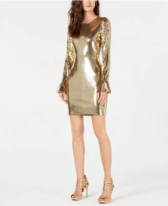 Michael Kors Sequined Flounce-Cuff Dress