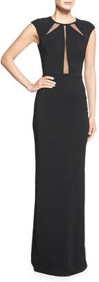 Michael Kors Crepe Cady Open-Back Illusion Gown, Black $3,350 thestylecure.com