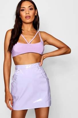 boohoo Vinyl Stud & Pocket Mini Skirt