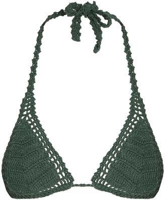 SHE MADE ME Essential Sliding crochet triangle bikini top $100 thestylecure.com