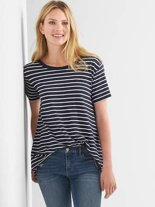Stripe pleat-back boatneck tee $29.95 thestylecure.com