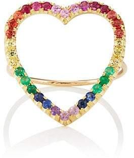 9e529d903a29cf Jennifer Meyer Women's Rainbow Open Heart Ring