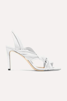 Jimmy Choo Leila 85 Knotted Leather Slingback Sandals - White