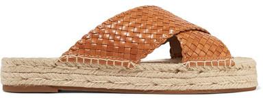 Michael Kors Collection - Destin Woven Leather Slides - Tan