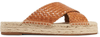 Michael Kors Collection - Destin Woven Leather Slides - Tan $385 thestylecure.com