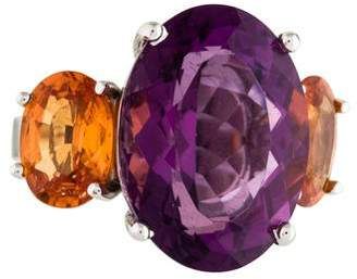 Ring 18K Amethyst & Spessartine Garnet Three Stone