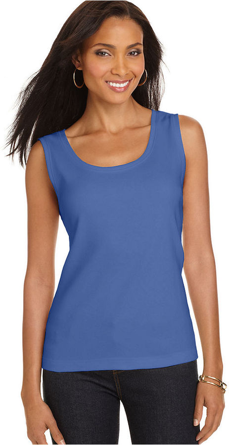 Karen Scott Top, Sleeveless Scoopneck Tank