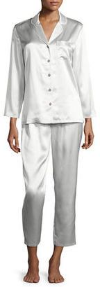 Neiman Marcus Satin Silk Two-Piece Pajama Set $175 thestylecure.com