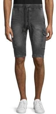ProjekRaw Belted Denim Drawstring Cargo Shorts