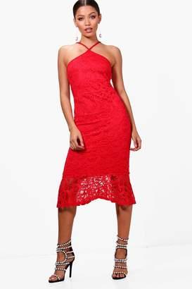 boohoo Lace Plunge Front Fluted Hem Midi Dress