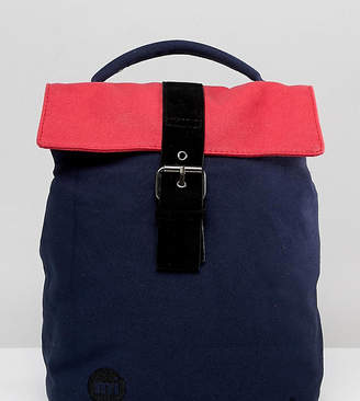 Mi-Pac Mi Pac Mini Fold Top Backpack In Navy And Pink Colourblock