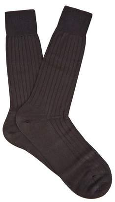 Pantherella - Asberley Ribbed Silk Blend Socks - Mens - Black