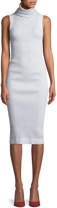 Brandon Maxwell Turtleneck Sleeveless Thick Rib-Knit Mid-Calf Sweaterdress