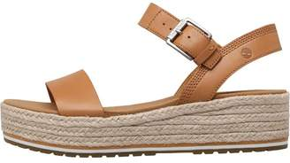 Timberland Womens Santorini Sun Ankle Strap Wedge Sandals Mid Beige