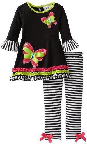 Rare Editions Girls 2-6X Stripe Legging Set