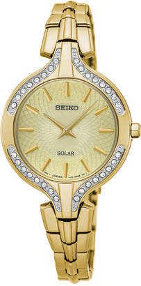 Seiko Women's Solar Recraft Gold-Tone Stainless Steel Bracelet Watch 28mm SUP346 $275 thestylecure.com