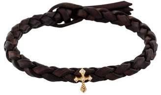 Mizuki Diamond Cross & Woven Leather Bracelet