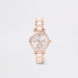 River Island Pink rose gold tone rhinestone chain link watch