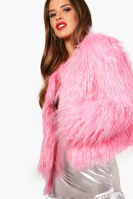 boohoo Petite Edge To Edge Mongolian Faux Fur Coat