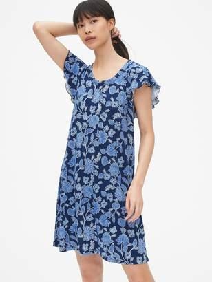 Gap Flutter Sleeve Print Swing Dress in Slub Jersey