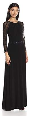 Marina Women's Long Jersey Gown with Shiring At Neck Beaded Mesh Sleeves $31.71 thestylecure.com