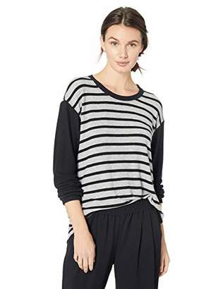 Michael Stars Women's Madison Brushed Stripe Colorblock Long Sleeve Scoop Neck