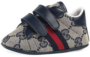 Gucci New Ace GG Canvas Grip-Strap Sneaker, Infant Sizes 0-12 Months