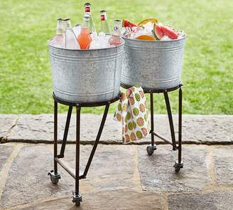 Pottery Barn Galvanized Metal Double Beverage Tub with Stand