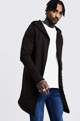 boohoo Longline Hooded Cardigan With Extended Cuff