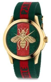 Gucci Le Marche Des Merveilles Bee Yellow Goldtone PVD and Striped Nylon Strap Watch