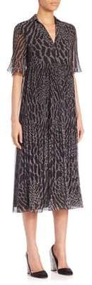 Giamba Leopard Print Georgette Midi Dress