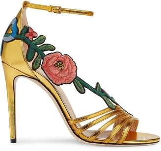 Gucci Gold Ophelia 110 leather sandals